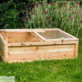 Frühbeet aus Lächenholz mit Deckel 120 x 80 x 35/45 cm