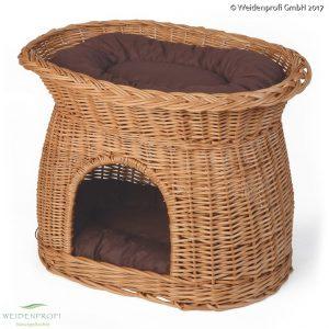 Katzenhöhle aus geschälter Weide mit Kissen