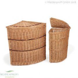 Wäschetonne Weide, dreieckig, mit Klappe, 41 x 61 x 61