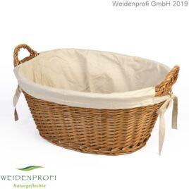 Wäschekorb Weide mit Stoffeinlage, hell